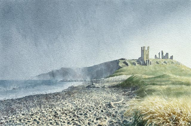 """Dunstanburgh Castle in a Squall"""