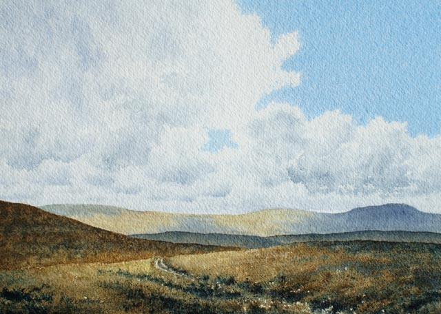 Yadd Moss - Watercolour landscape painting by Gillie Cawthorne