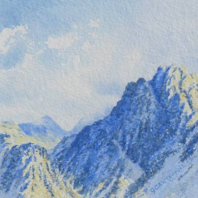 Painting of Cumbrian fell Haystacks in Shadow