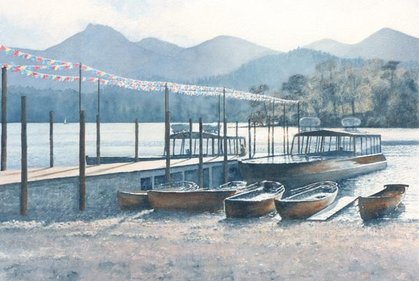 Painting of Keswick landing stage