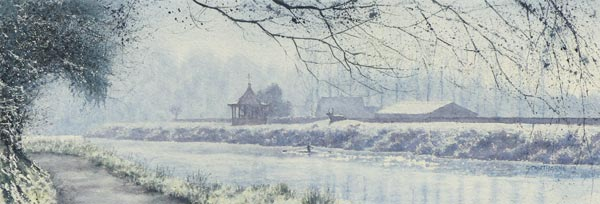 Frosty Racecourse, Durham watercolour painting