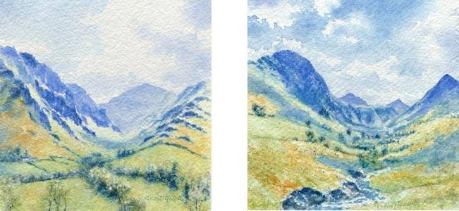 Newlands Valley, Cumbria watercolour pair