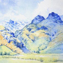 """""""Great Langdale & Langdale Pikes"""" watercolour"""