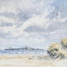 """""""Inner Farne From Bamburgh"""" watercolour"""