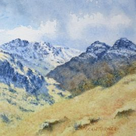 """Langdale Pikes & Crinkle Crags"" watercolour"