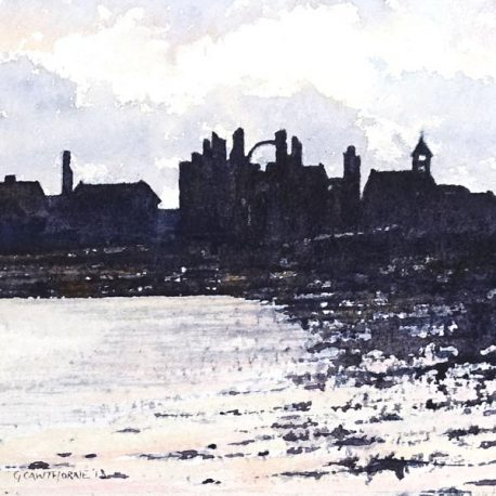 """""""Lindisfarne Priory Evening"""" watercolour"""