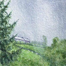 """Summer Rain, Pasture Houses"" watercolour"