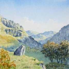 """Reecastle Crag, Watendlath"" watercolour"