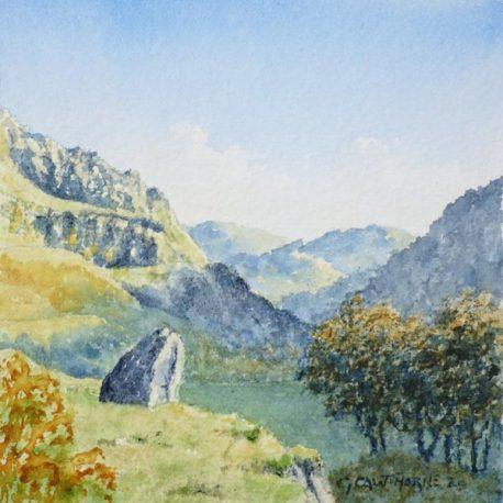 """Reecastle Crag, Watendlath"" watercolour"