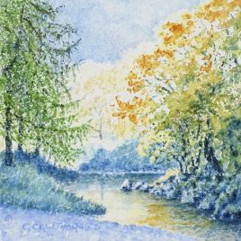 """River Derwent in Autumn"" watercolour"
