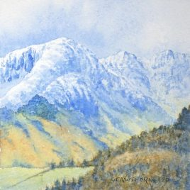 """Snow on Lingmoor Fell"" watercolour"