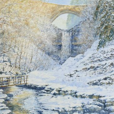 Ashgill Force in Winter – watercolour painting