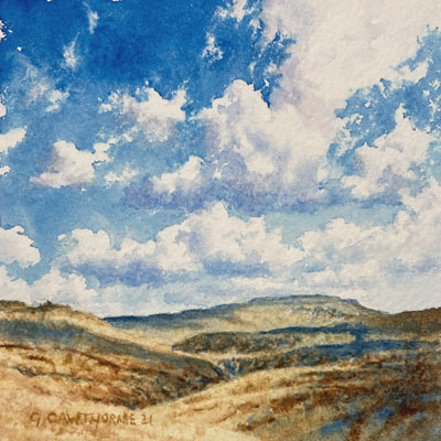 Greencastle and Cross Fell - watercolour painting