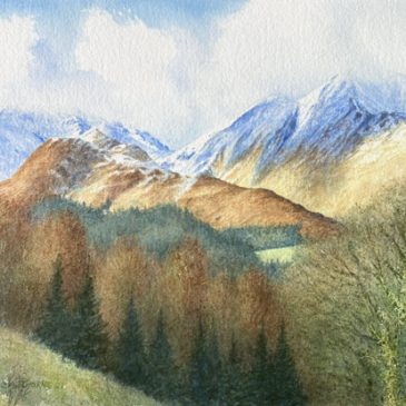 Late Snow on Grisedale Pike, watercolour painting