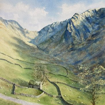 Raven Crag & Stoney Cove Pike watercolour painting